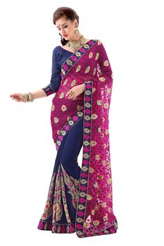 This Rani Colored Georgette Saree With A Brasso Pallu Is An Excellent Choice This Season It Is Paired With A Bhagalpuri Navy Blue Colored Blouse That Can Be Stitched Upto Size 44. #saree, #partywear, #designer, #wholesalesuppliers http://www.addsharesale.com/