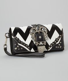 Take a look at the Black & White Zigzag Rhinestone Wristlet on #zulily today!