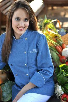 Rachel wearing Crooked Brook Women's Chef Coat Style BSW100