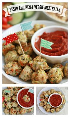 Pesto Chicken Veggie Meatballs Recipe - This is a perfect size for little and grown-up eaters alike! http://www.superhealthykids.com/pesto-chicken-veggie-meatballs/