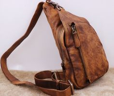Leather Sling Bag Backpack with Single Strap Mens Crossbody