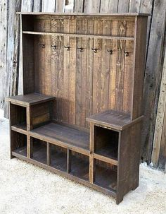 Rustic Reclaimed Hall Tree Bench rustic home decor home ideas home decorating home projects home decoration ideas decorating ideas for home