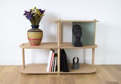 Grande etagere 2 niveaux & demi by lou Home Interior, Interior Decorating, Etagere Design, Large Shelves, A Shelf, Minimalist Home, Wood And Metal, Solid Oak, Plywood
