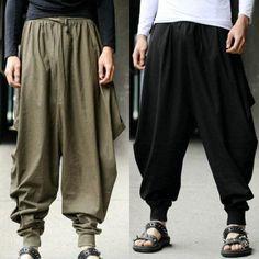 Livraison gratuite Hommes Japonais Samurai Style pantalon Boho Casual Bas Entrejambe Lâ Harem Pants Men, Cotton Harem Pants, Baggy Trousers, Mens Dress Pants, Linen Pants, Girls Pants, Casual Outfits For Teens, Dresses For Teens, Japanese Pants