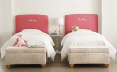 personalized headboards! great idea for a shared space for kids