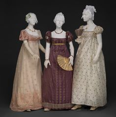 """3 nice dresses for 3 wicked ladies.------------Evening dresses, From the exhibition """"An Agreeable Tyrant: Fashion After the Revolution"""" at the DAR Museum 1800s Fashion, 19th Century Fashion, Vintage Fashion, Steampunk Fashion, Gothic Fashion, Regency Dress, Regency Era, Retro Mode, Mode Vintage"""