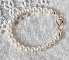 Baby Girl  Bracelet  Pearl  Infant Newborn Christening Baptism Gift Kids Juvy Jewels Jewelry June Birthstone Genuine Freshwater