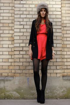 Holiday Dressing winter romper with tights and booties   Style Envy   Pinterest   Rompers ...