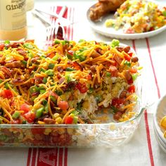 Chili Corn Bread Salad Recipe -A co-worker brought this wonderful dish to a potluck several years ago. She had copies of the recipe next to the pan. Now I make it for get-togethers and also supply copies of the recipe. I never have any leftover salad <I>or</I> recipes. —Kelly Newsom, Jenks, Oklahoma