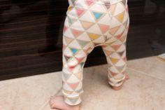 Cuteness alert!!  Organic Baby Gender Neutral Colorful Triangle Cuffed Leggings