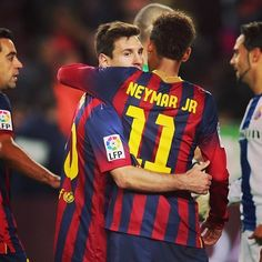 Messi and Neymar FC Barcelona Messi And Neymar, Messi 10, Lionel Messi, God Of Football, Fc Barcelona, Kobe, Soccer, Hero, Athletic