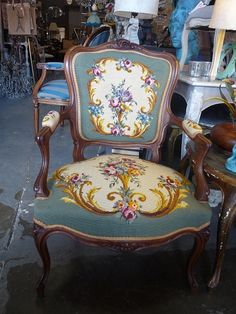Antique French Louis Tapestry Salon Chair