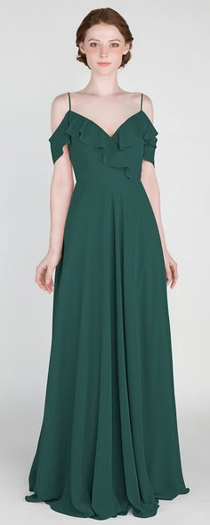 Off Shoulder Ruffled Emerald Green Bridesmaid Dress with Spaghetti Straps #bridesmaid #bridesmaiddresses #bridalparty #greenwedding