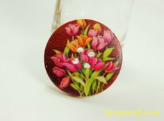 Flower Wooden Buttons - Vibrant Tulip Picture Burgundy Color Wood Buttons 1.18 inch . 6 in a set