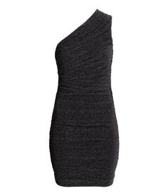 Short, fitted dress in jersey with glittery threads. Single shoulder strap, draping, and jersey lining. Black. | Party in H&M