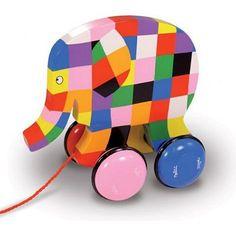 Jouet à tirer Elmer l'éléphant - Avenue des jeux