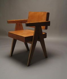 Pierre Jeanneret, Teak, leather, 1950