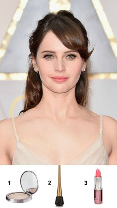 1. Girlactik – Luminous Face Veil 2. Jane Iredale – Delineador líquido 3. Girlactik – Le Creme Lipstick: Pretty #Oscar2017 #FelicityJones
