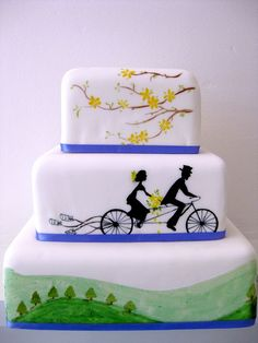 Cycling and mountain-themed wedding cake by sweet_sweet_way, lol but still Arica Bicycle Themed Wedding, Themed Wedding Cakes, Themed Cakes, Wedding Themes, Silhouette Wedding Cake, Silhouette Cake, Fancy Cakes, Cute Cakes, Office Party Decorations