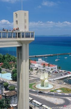 The most famous postcard of Salvador, the Lacerda Elevator with the Todos os Santos Bay in the background, State of Bahia, Northeast of Brazil