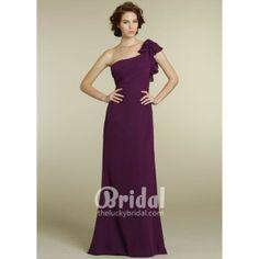 Violet Chiffon Ruffled One-shoulder Empire Draped Bodice Long Evening Dress. #Oneshoulder, #Crimson, #Empire, #Evening, #Dress. Only $189.00
