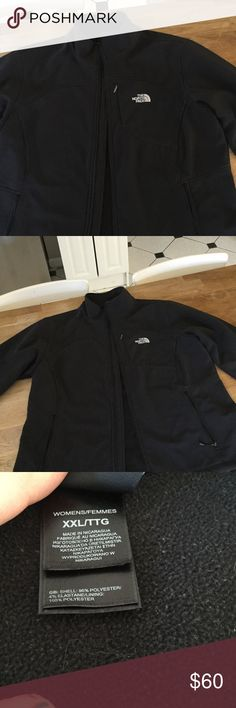 Women's north face jacket XXL This jacket is super warm. It's been worn a bunch but in good used condition. Outside is super great. The inside is fleece so it's a bit dusty looking but can be lint rolled.  So warm and water just beads off this! Jackets & Coats