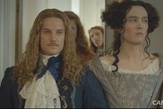 Alex Vlahos as Philippe, duc d'Orleans (r) and Evam Williams as the Chevalier de Lorraine (L) in the TV series Versailles