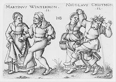 November and December from The Peasants' Feast or the Twelve Months (1546-47); Hans Sebald Beham (German, 1500–1550); Engraving; second state of two (Pauli); Metropolitan Museum of Art, New York