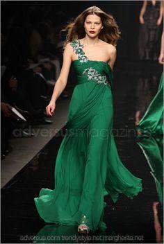 Emerald green with light embellishment. (Zuhair Murad)