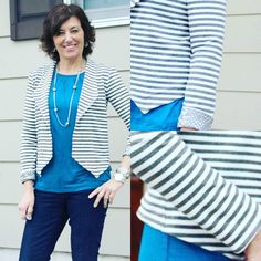 I just can't get enough of stripes so another Morris Blazer. The fabric is a french terry ponte from @stylemakerfabrics and it is amazing.  I a feed 3 inches to the sleeves and added a coordinating fabric for the sleeve facing. #grainlinestudio #stylemakerfabrics by girlsinthegarden