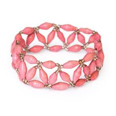 @WorldCrafts Pretty in Pink Bracelet-Fun bracelet consists of pink paper beads handmade by HIV-postive women in Uganda. Each bracelet purchased provides badly needed income to meet their families' most basic needs, such as food and rent. This stretchy bracelet measures 8 inches in diameter. #fairtrade