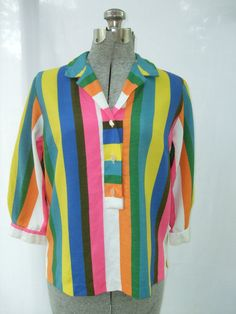 Vintage 1960s Blouse Womens Bright Vibrant by TimelessTreasuresVCB, $24.00