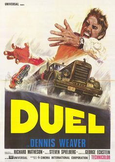 Gorgeous Italian poster for Steven Spielberg's first feature film, 'Duel' (1971).