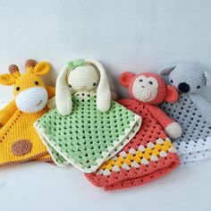 Cute animal security blankets - all friends together   Create your own lovey with this pattern!