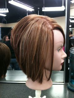 Red Brown graduated bob with natural highlights - Crista Fall 2013