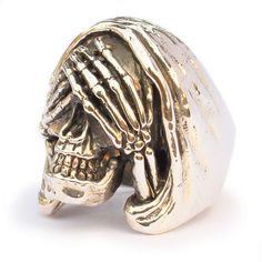 Hey, I found this really awesome Etsy listing at https://www.etsy.com/listing/130304567/see-no-evil-bronze-skull-ring-biker-ring