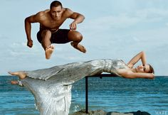 Decathlete Ashton Eaton Photographed with Model Karlie Kloss by Annie Leibovitz for the June Issue of Vogue