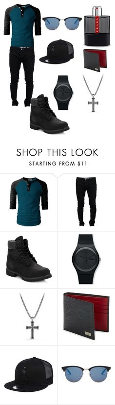 """California Men"" by itz-rachellll ❤ liked on Polyvore featuring Soul Star, Timberland, Swatch, David Yurman, Salvatore Ferragamo, New Era, Yves Saint Laurent, Prada, men's fashion and menswear"