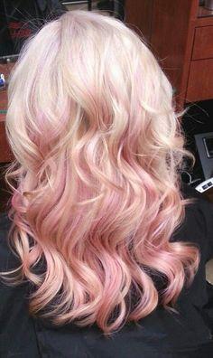 pink highlights in blonde hair: