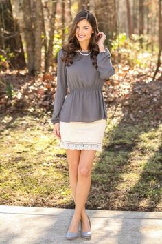 Classic is always in style! You need this gorgeous peplum top in your life! Must have!