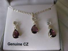 Silver Tone Simulated Crystal Purple Teardrop Pendant & Drop Earring Set Boxed