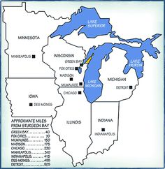 Distances from Sturgeon Bay, Wisconsin Door County Wisconsin, Sturgeon Bay, Minneapolis Minnesota, Lake Superior, Lake Michigan, Plan Your Trip, Green Bay, Geography, Iowa