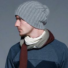 G R A D_STAR New Men's Generous Vertical knitted Ski BALL cap Winter Hat Gray