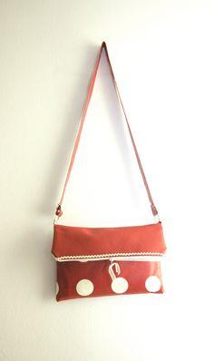 Polka Dot Bag, Red Shoulder Bag, Fold Over Bag Red and White Bag by BirdsAreCurious