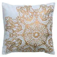 Rizzy Home Metallic Medallion Textured Cotton Decorative Pillow - Gold