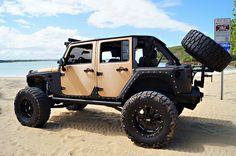 Custom lifted Jeep Wrangler with fender flares. Love the sand color. Suv Trucks, Jeep Truck, Jeep Jeep, Jeep Wrangler Jk, Jeep Wrangler Unlimited, Extreme 4x4, Badass Jeep, Jeep Wave, Jeep Pickup