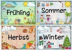 Idea Journey: Seasons Placards Source by German Language Learning, Teaching English, Primary School, Pre School, Kindergarten Portfolio, German Grammar, Learn German, English Lessons, Kids And Parenting