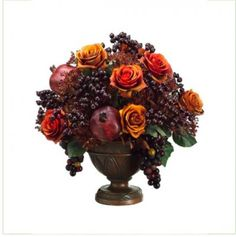 Tuscany Silk Floral Centerpiece with Fruit and Berries