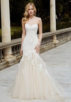 Full-length mermaid gown with sweetheart neckline and embroidered with corded lace over Chantilly lace   Blue by Enzoani   https://www.theknot.com/fashion/ibarki-blue-by-enzoani-wedding-dress