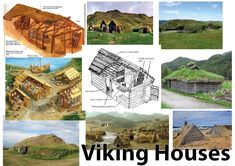 The Vikings built their houses from local material such as wood, stone or blocks of turf. They lived in long rectangular houses made with upright timbers (wood). The walls were made of wattle (woven sticks, covered with mud to keep out the wind and rain). Viking House, Viking Life, Viking Art, Cabana, Viking People, Viking Culture, Old Norse, Norse Vikings, Viking Jewelry